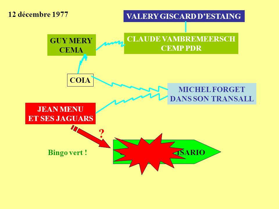 12 décembre 1977 COLONNE POLISARIO JEAN MENU ET SES JAGUARS MICHEL FORGET DANS SON TRANSALL COIA GUY MERY CEMA CLAUDE VAMBREMEERSCH CEMP PDR VALERY GI