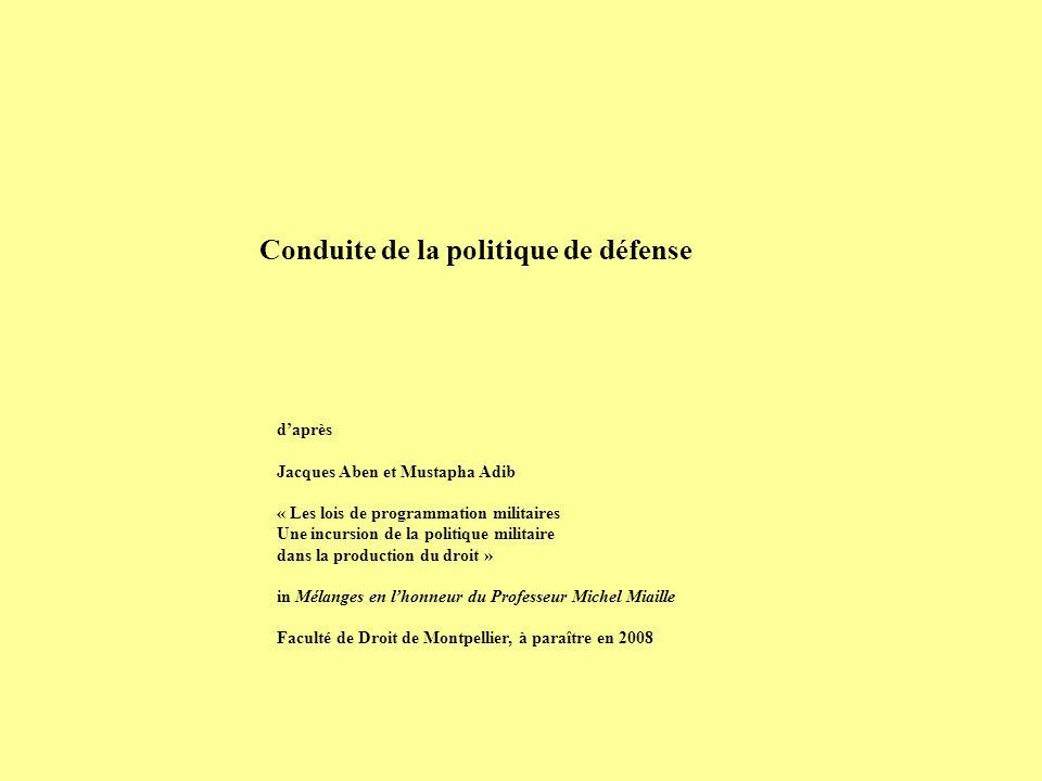 daprès Jacques Aben et Mustapha Adib « Les lois de programmation militaires Une incursion de la politique militaire dans la production du droit » in M
