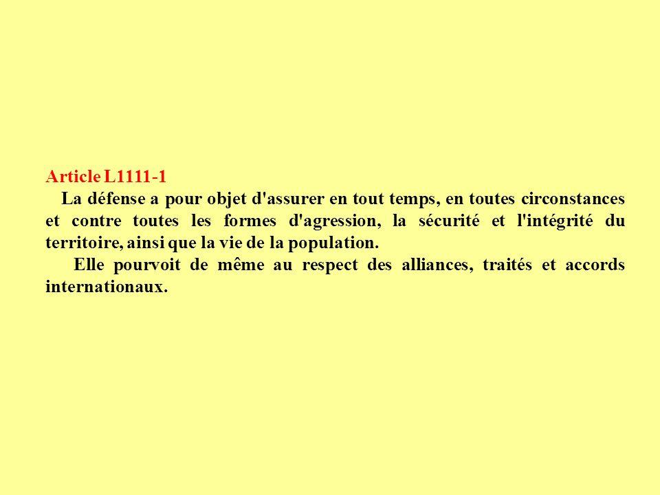 Article L1111-1 MOBILISATION GENERALE MISE EN GARDE Article L1111-2