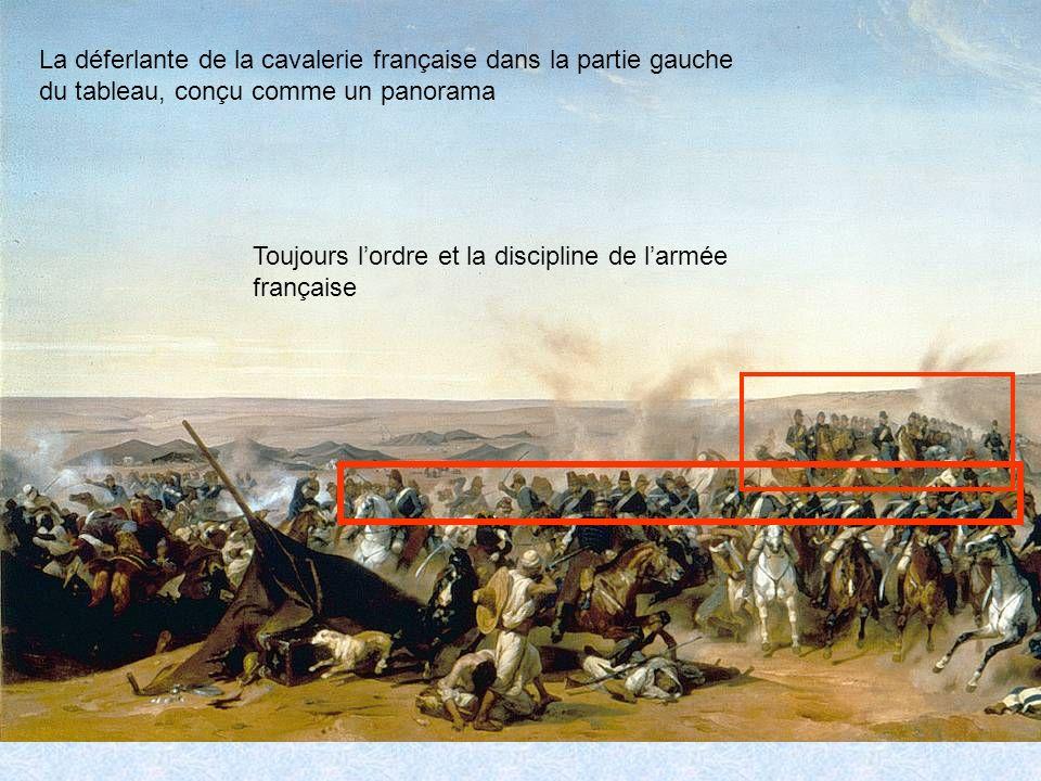 La déferlante de la cavalerie française dans la partie gauche du tableau, conçu comme un panorama Toujours lordre et la discipline de larmée française