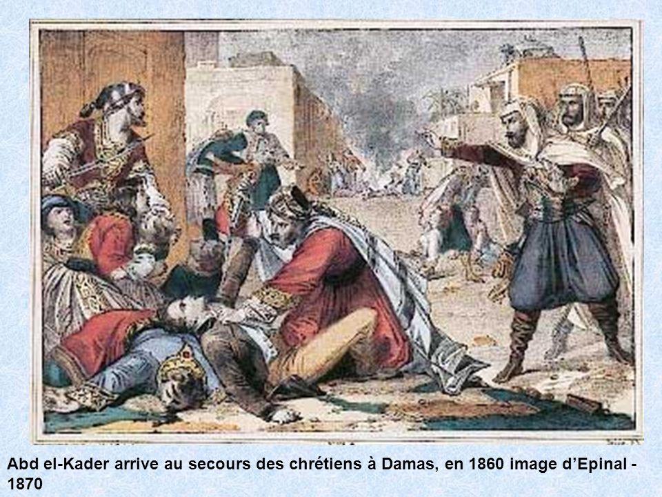 Abd el-Kader arrive au secours des chrétiens à Damas, en 1860 image dEpinal - 1870