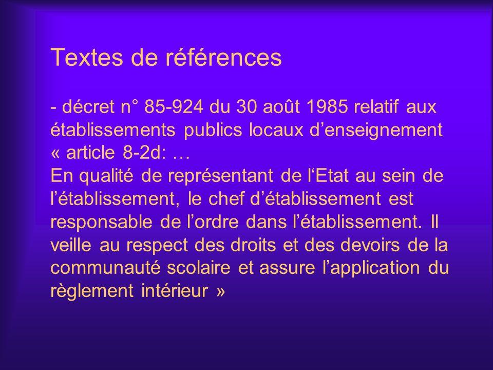 Textes de références - décret n° 85-924 du 30 août 1985 relatif aux établissements publics locaux denseignement « article 8-2d: … En qualité de représ