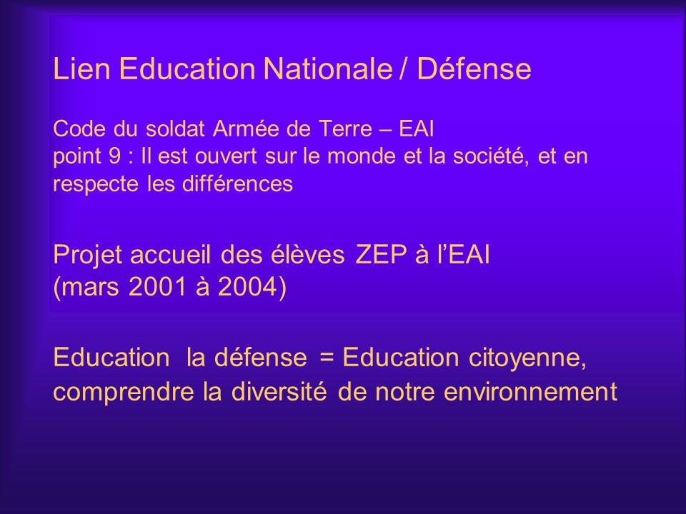 Lien Education Nationale / Défense Code du soldat Armée de Terre – EAI point 9 : Il est ouvert sur le monde et la société, et en respecte les différen