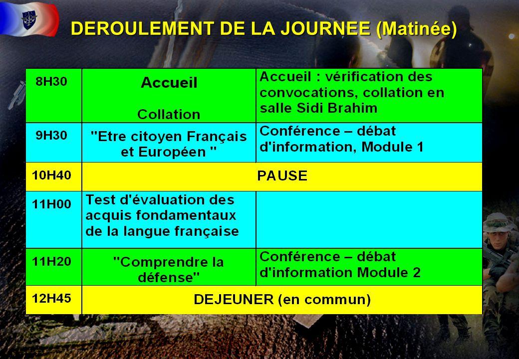 12 DEROULEMENT DE LA JOURNEE (Matinée)