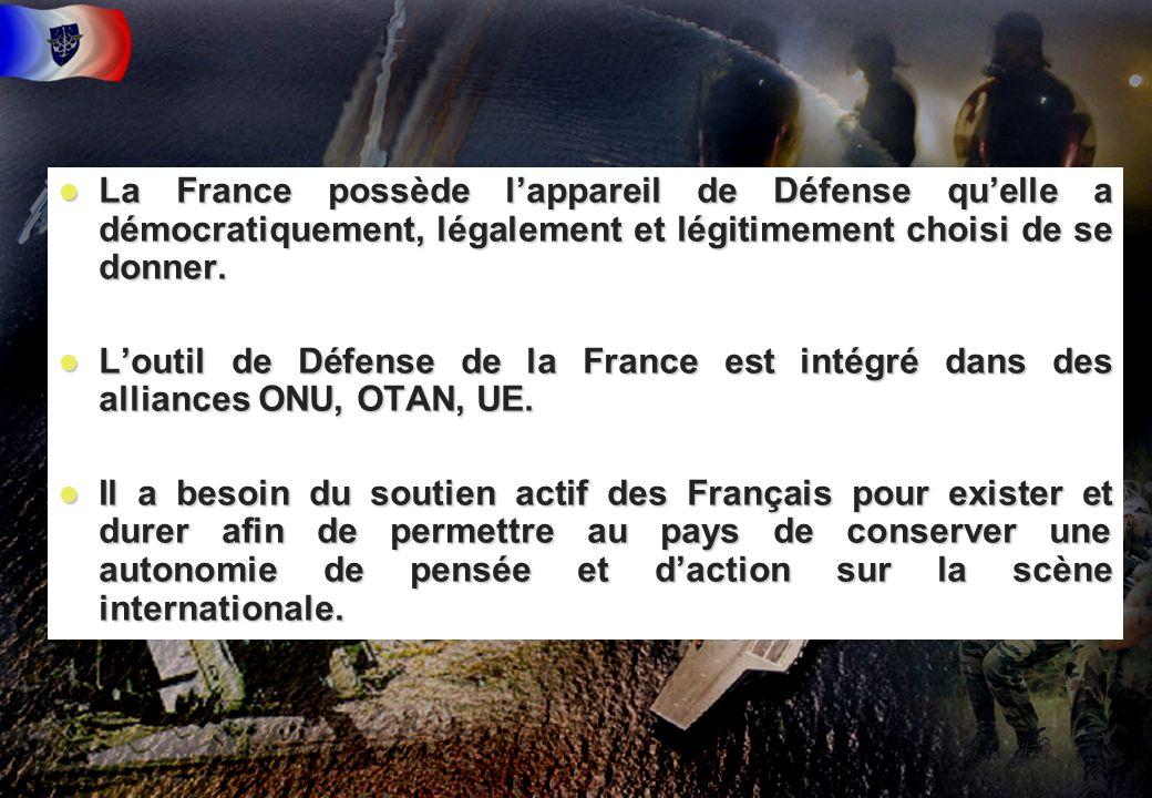 3 l La France possède lappareil de Défense quelle a démocratiquement, légalement et légitimement choisi de se donner. l Loutil de Défense de la France