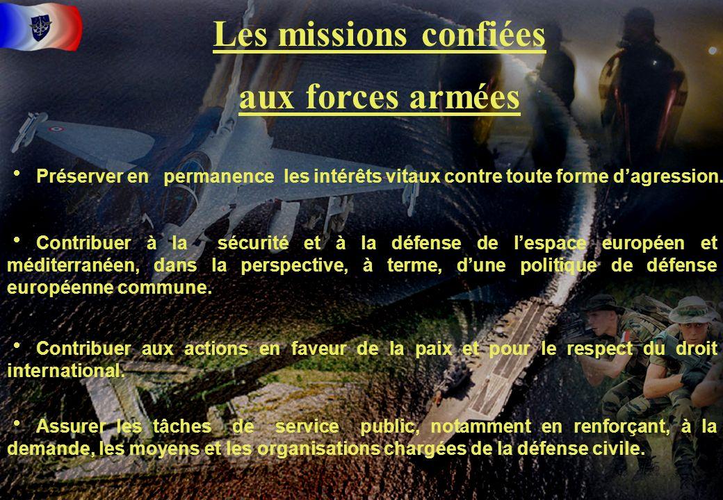 5 Les missions confiées aux forces armées Préserver en permanence les intérêts vitaux contre toute forme dagression. Contribuer à la sécurité et à la