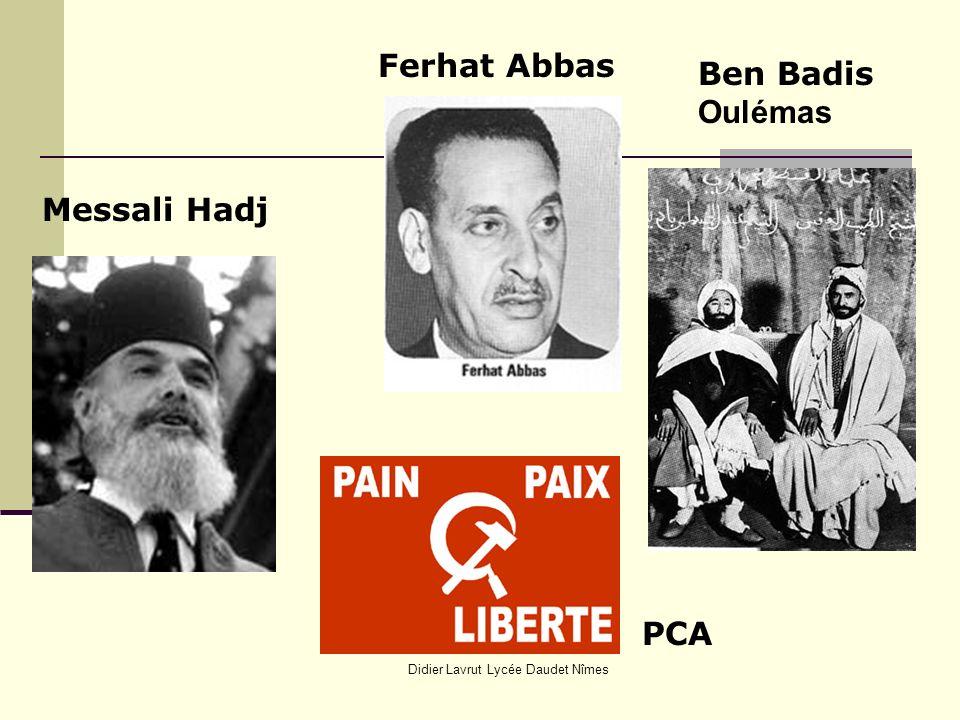 Didier Lavrut Lycée Daudet Nîmes Messali Hadj Ferhat Abbas Ben Badis Oulémas PCA