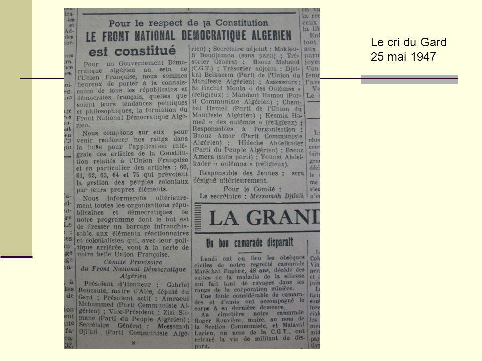 Didier Lavrut Lycée Daudet Nîmes Le cri du Gard 25 mai 1947
