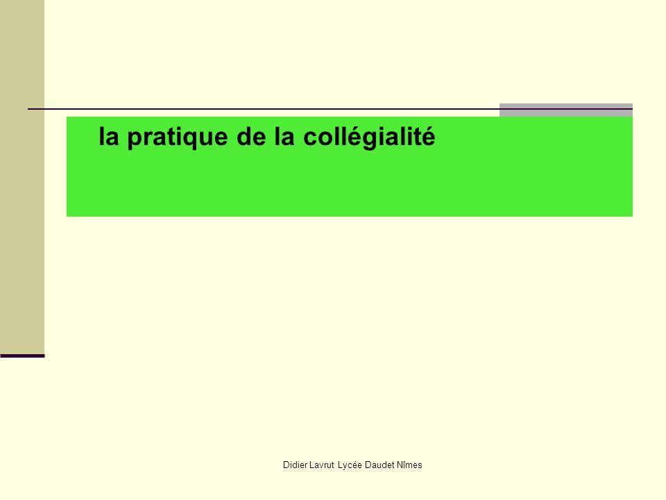 Didier Lavrut Lycée Daudet Nîmes la pratique de la collégialité