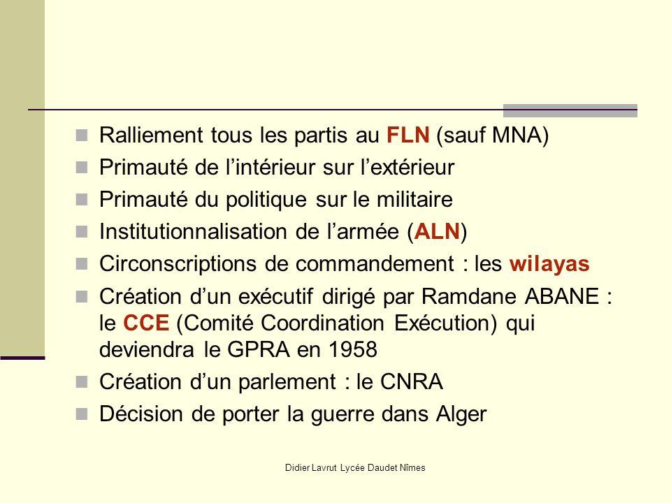 Didier Lavrut Lycée Daudet Nîmes Ralliement tous les partis au FLN (sauf MNA) Primauté de lintérieur sur lextérieur Primauté du politique sur le milit