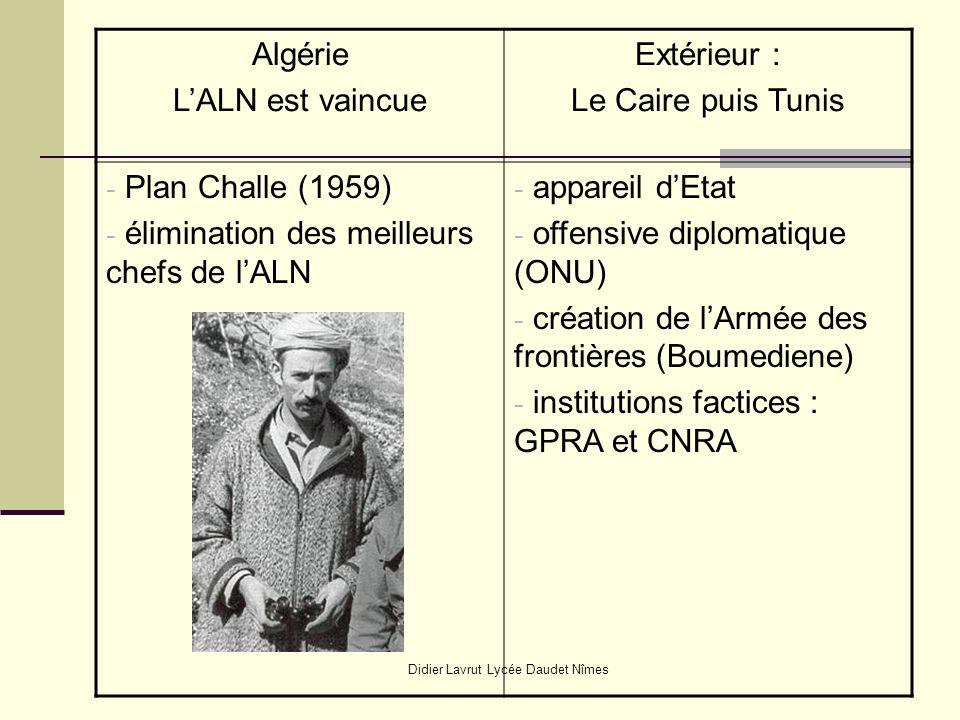 Didier Lavrut Lycée Daudet Nîmes Algérie LALN est vaincue Extérieur : Le Caire puis Tunis - Plan Challe (1959) - élimination des meilleurs chefs de lALN - appareil dEtat - offensive diplomatique (ONU) - création de lArmée des frontières (Boumediene) - institutions factices : GPRA et CNRA