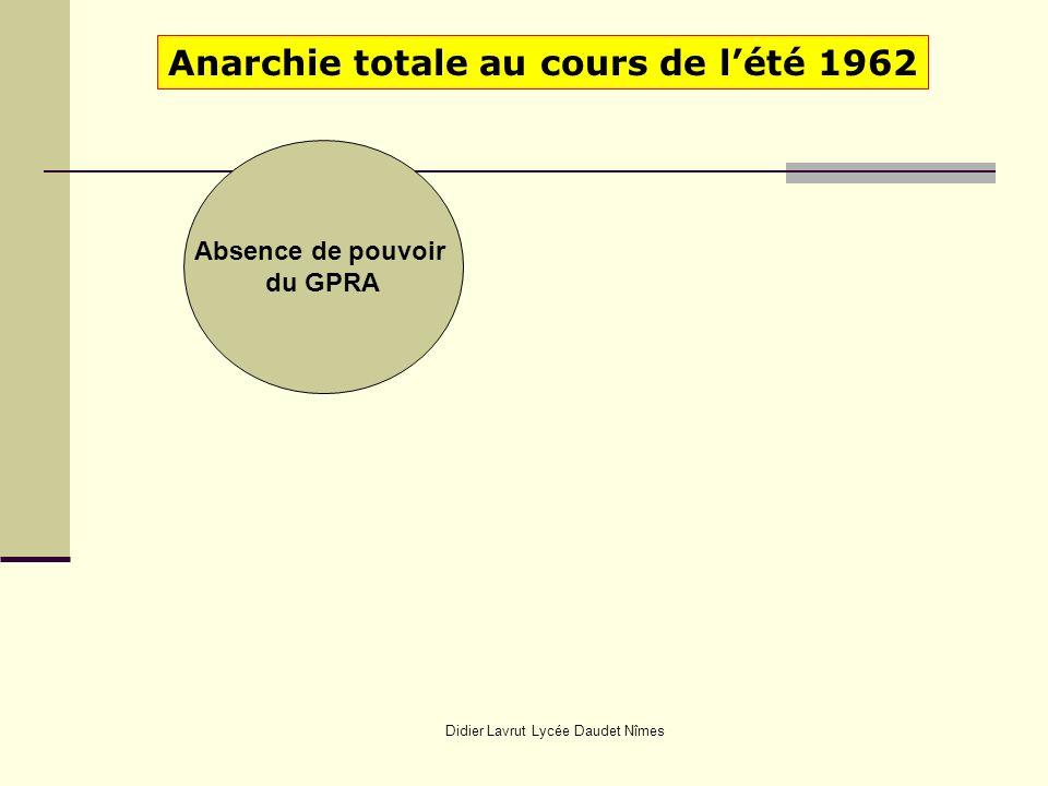 Didier Lavrut Lycée Daudet Nîmes Anarchie totale au cours de lété 1962 Absence de pouvoir du GPRA