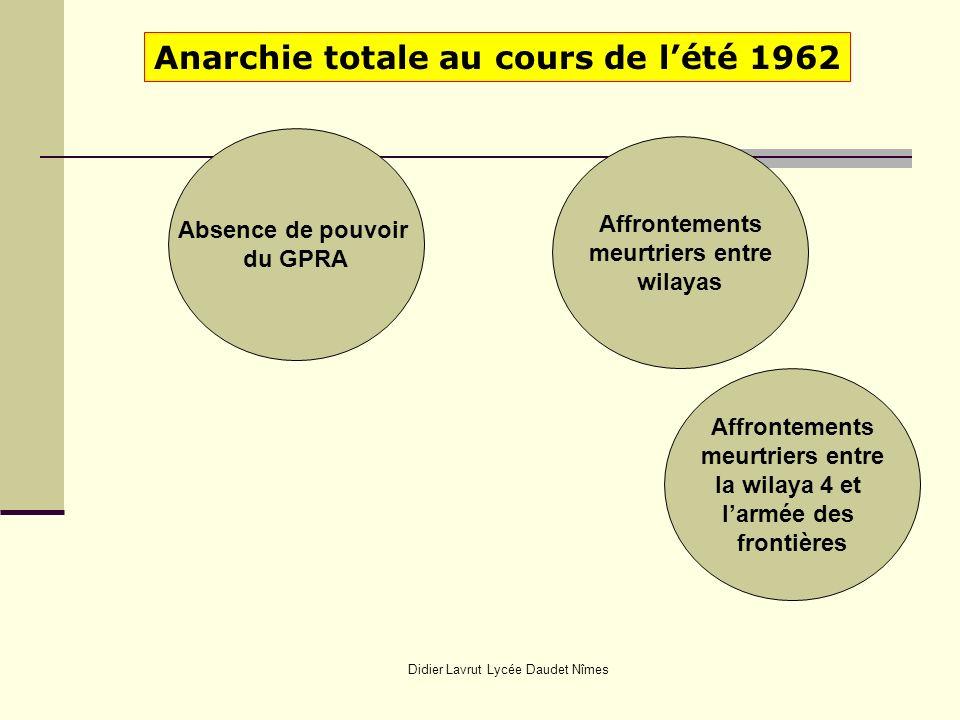Didier Lavrut Lycée Daudet Nîmes Anarchie totale au cours de lété 1962 Absence de pouvoir du GPRA Affrontements meurtriers entre wilayas Affrontements meurtriers entre la wilaya 4 et larmée des frontières