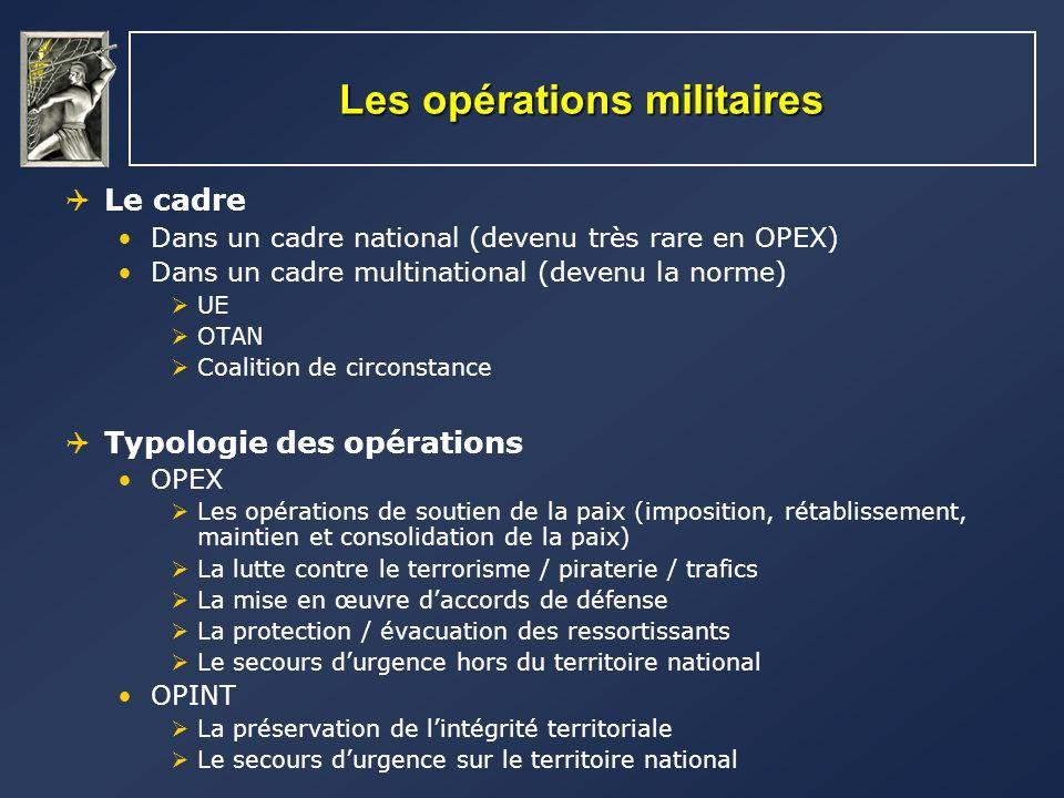Les opérations militaires Le cadre Dans un cadre national (devenu très rare en OPEX) Dans un cadre multinational (devenu la norme) UE OTAN Coalition d