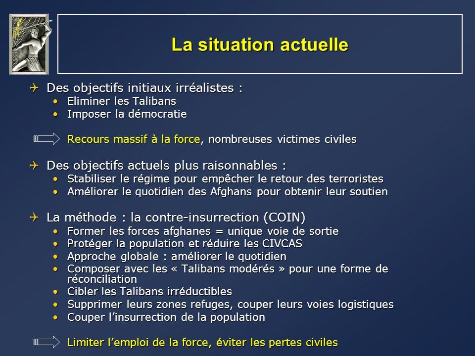 La situation actuelle Des objectifs initiaux irréalistes : Des objectifs initiaux irréalistes : Eliminer les TalibansEliminer les Talibans Imposer la
