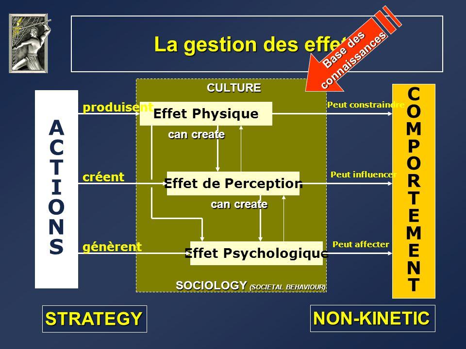 La gestion des effets ACTIONSACTIONS COMPORTEMENTCOMPORTEMENT Effet Physique Effet de Perception Effet Psychologique produisent créent génèrent Peut c