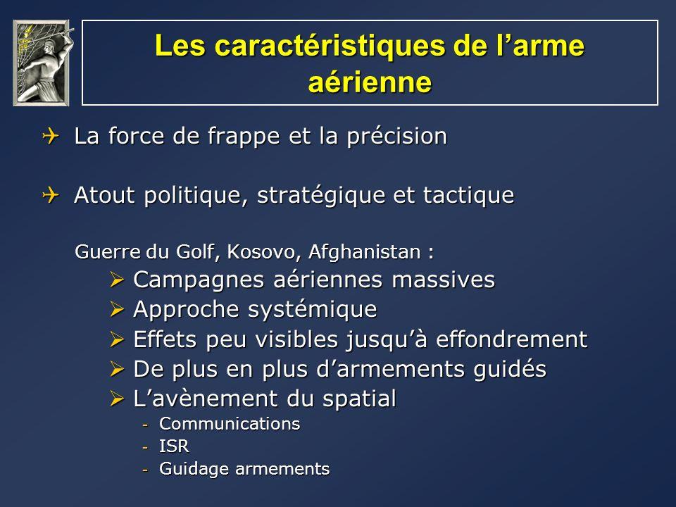 Les caractéristiques de larme aérienne La force de frappe et la précision La force de frappe et la précision Atout politique, stratégique et tactique