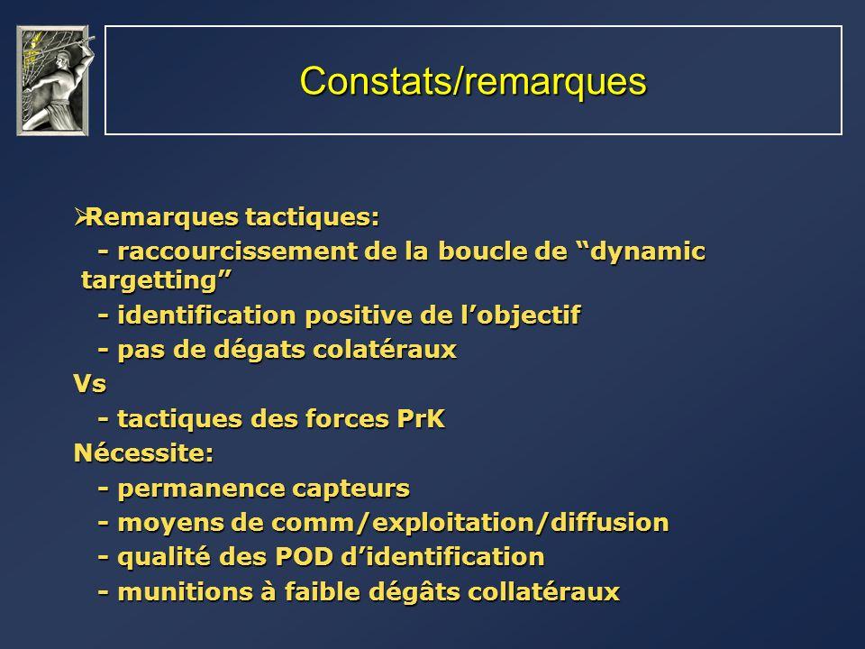 Constats/remarques Remarques tactiques: Remarques tactiques: - raccourcissement de la boucle de dynamic targetting - raccourcissement de la boucle de