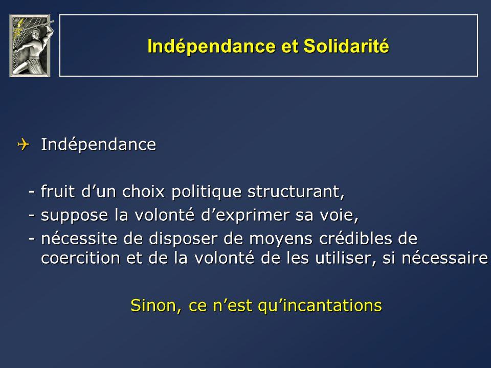 Indépendance et Solidarité Indépendance Indépendance - fruit dun choix politique structurant, - fruit dun choix politique structurant, - suppose la vo