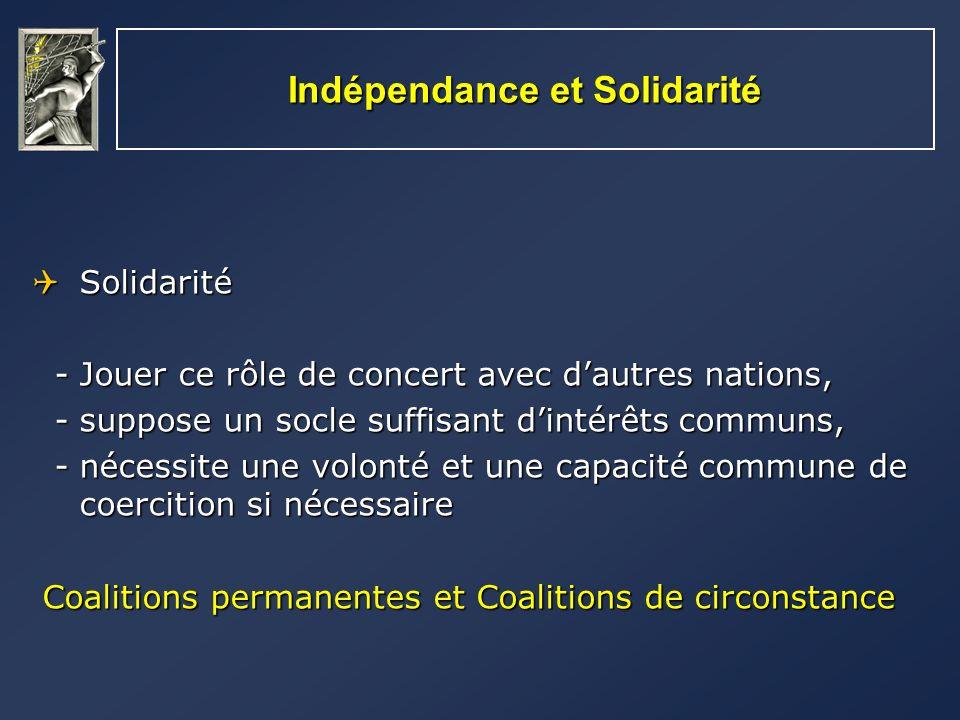 Indépendance et Solidarité La solidarité peut être: La solidarité peut être: - politiquement souhaitable, - politiquement souhaitable, pour garantir la légitimation, - militairement indispensable - militairement indispensable pour crédibiliser le discours,