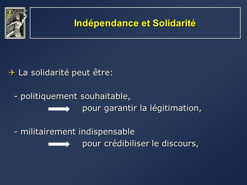 Indépendance et Solidarité La solidarité peut être: La solidarité peut être: - politiquement souhaitable, - politiquement souhaitable, pour garantir l
