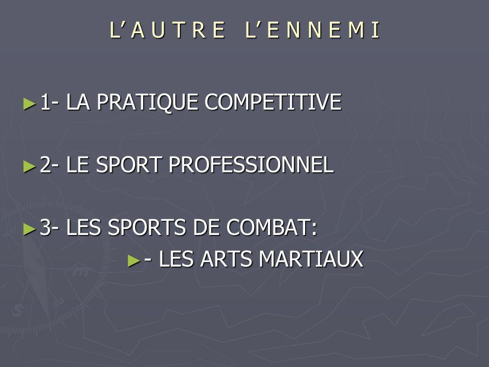 L A U T R E L E N N E M I 1- LA PRATIQUE COMPETITIVE 1- LA PRATIQUE COMPETITIVE 2- LE SPORT PROFESSIONNEL 2- LE SPORT PROFESSIONNEL 3- LES SPORTS DE COMBAT: 3- LES SPORTS DE COMBAT: - LES ARTS MARTIAUX - LES ARTS MARTIAUX