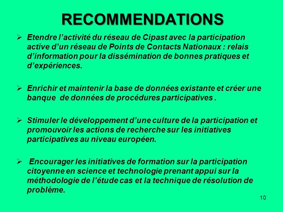 RECOMMENDATIONS Etendre lactivité du réseau de Cipast avec la participation active dun réseau de Points de Contacts Nationaux : relais dinformation po