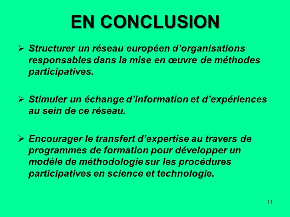 EN CONCLUSION Structurer un réseau européen dorganisations responsables dans la mise en œuvre de méthodes participatives. Stimuler un échange dinforma