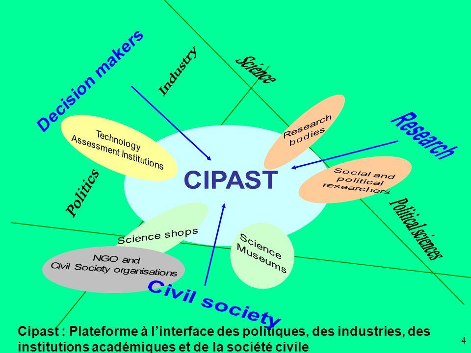 Cipast : Plateforme à linterface des politiques, des industries, des institutions académiques et de la société civile 4