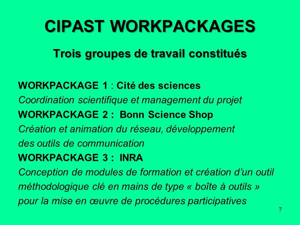 CIPAST WORKPACKAGES Trois groupes de travail constitués WORKPACKAGE 1 : Cité des sciences Coordination scientifique et management du projet WORKPACKAG