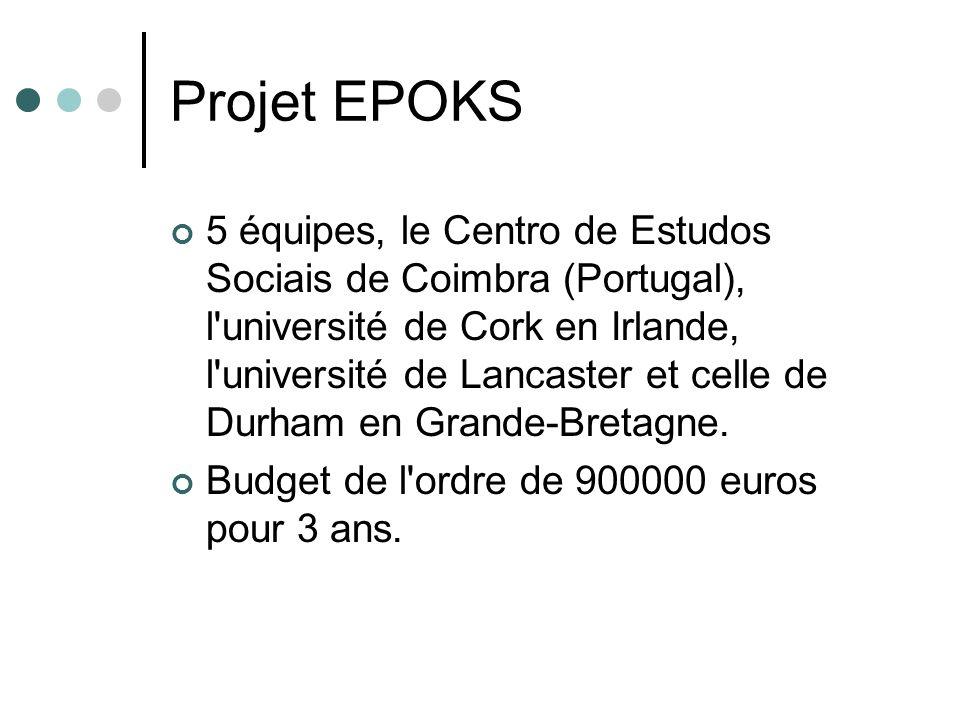 Projet EPOKS 5 équipes, le Centro de Estudos Sociais de Coimbra (Portugal), l université de Cork en Irlande, l université de Lancaster et celle de Durham en Grande-Bretagne.