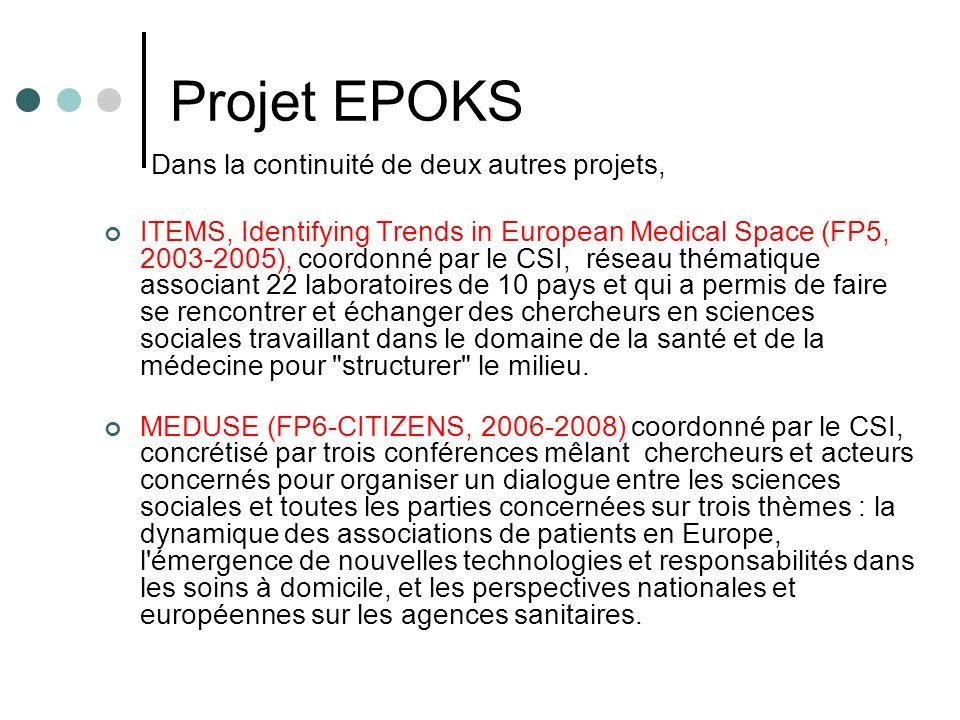 Projet EPOKS Dans la continuité de deux autres projets, ITEMS, Identifying Trends in European Medical Space (FP5, 2003-2005), coordonné par le CSI, réseau thématique associant 22 laboratoires de 10 pays et qui a permis de faire se rencontrer et échanger des chercheurs en sciences sociales travaillant dans le domaine de la santé et de la médecine pour structurer le milieu.