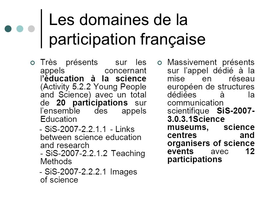 Les domaines de la participation française Très présents sur les appels concernant léducation à la science (Activity 5.2.2 Young People and Science) avec un total de 20 participations sur lensemble des appels Education - SiS-2007-2.2.1.1 - Links between science education and research - SiS-2007-2.2.1.2 Teaching Methods - SiS-2007-2.2.2.1 Images of science Massivement présents sur lappel dédié à la mise en réseau européen de structures dédiées à la communication scientifique SiS-2007- 3.0.3.1Science museums, science centres and organisers of science events avec 12 participations