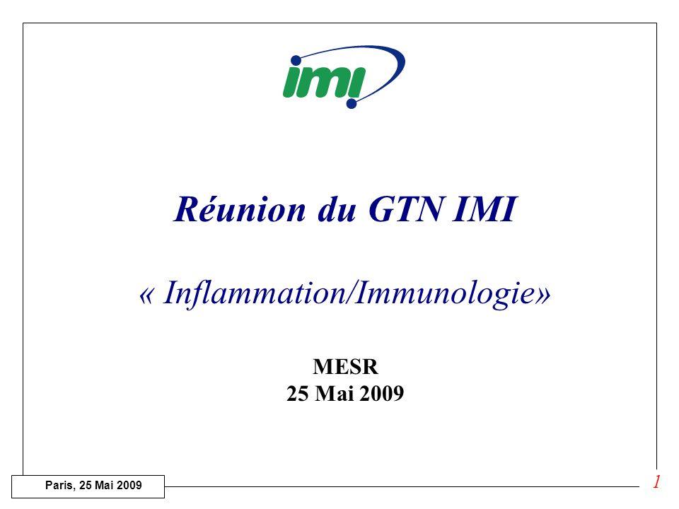 Paris, 25 Mai 2009 Réunion du GTN IMI « Inflammation/Immunologie» MESR 25 Mai 2009 1