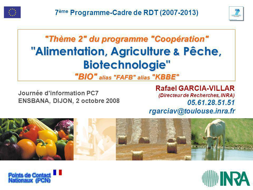 Thème 2 du programme Coopération Alimentation, Agriculture & Pêche, Biotechnologie BIO alias FAFB alias KBBE Rafael GARCIA-VILLAR (Directeur de Recherches, INRA) 05.61.28.51.51 rgarciav@toulouse.inra.fr 7 ème Programme-Cadre de RDT (2007-2013) Journée d information PC7 ENSBANA, DIJON, 2 octobre 2008