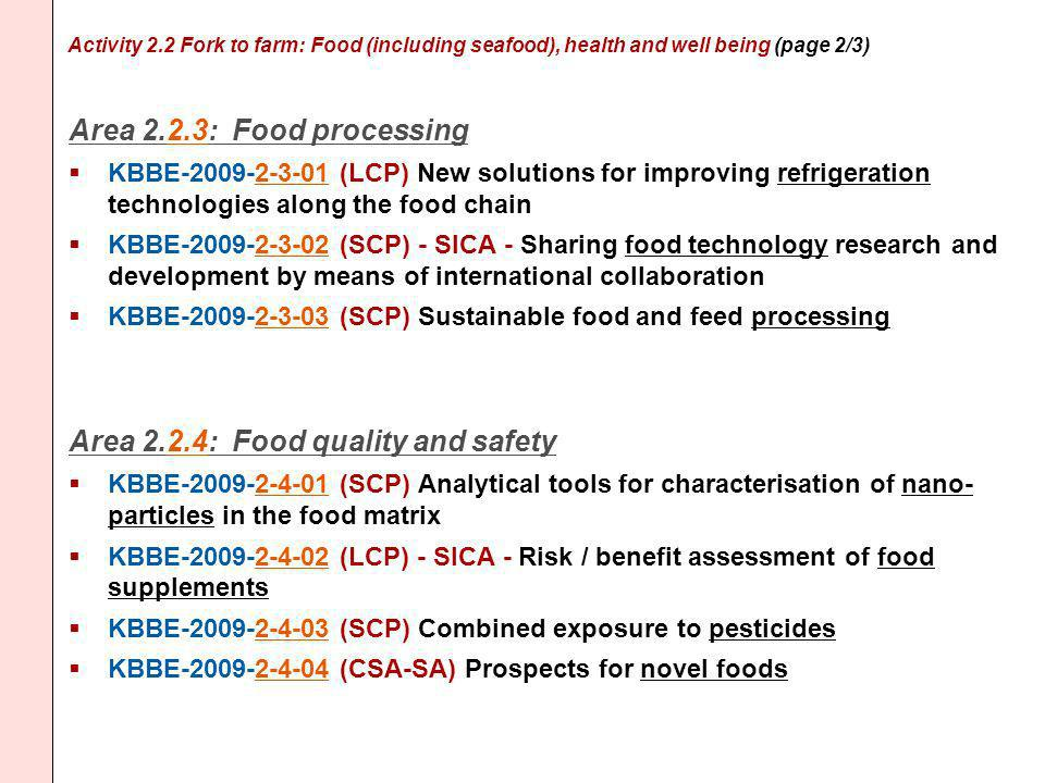 Activity 2.2 Fork to farm: Food (including seafood), health and well being (page 2/3) Area 2.2.3: Food processing KBBE-2009-2-3-01 (LCP) New solutions for improving refrigeration technologies along the food chain KBBE-2009-2-3-02 (SCP) - SICA - Sharing food technology research and development by means of international collaboration KBBE-2009-2-3-03 (SCP) Sustainable food and feed processing Area 2.2.4: Food quality and safety KBBE-2009-2-4-01 (SCP) Analytical tools for characterisation of nano- particles in the food matrix KBBE-2009-2-4-02 (LCP) - SICA - Risk / benefit assessment of food supplements KBBE-2009-2-4-03 (SCP) Combined exposure to pesticides KBBE-2009-2-4-04 (CSA-SA) Prospects for novel foods