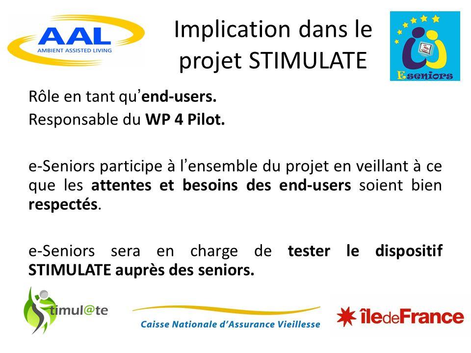Implication dans le projet STIMULATE Rôle en tant quend-users.