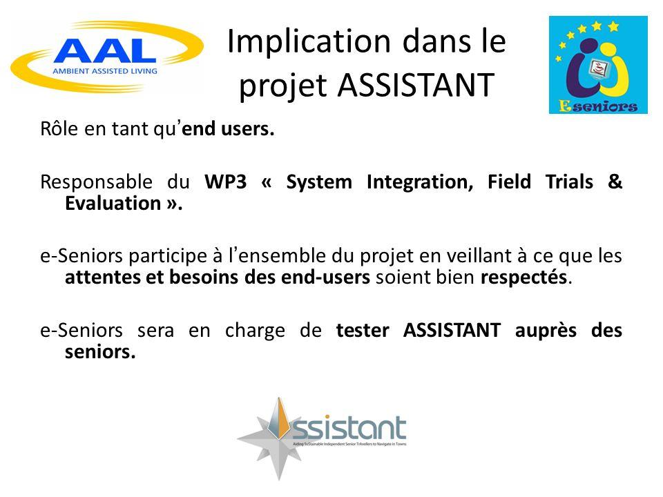 Implication dans le projet ASSISTANT Rôle en tant quend users.