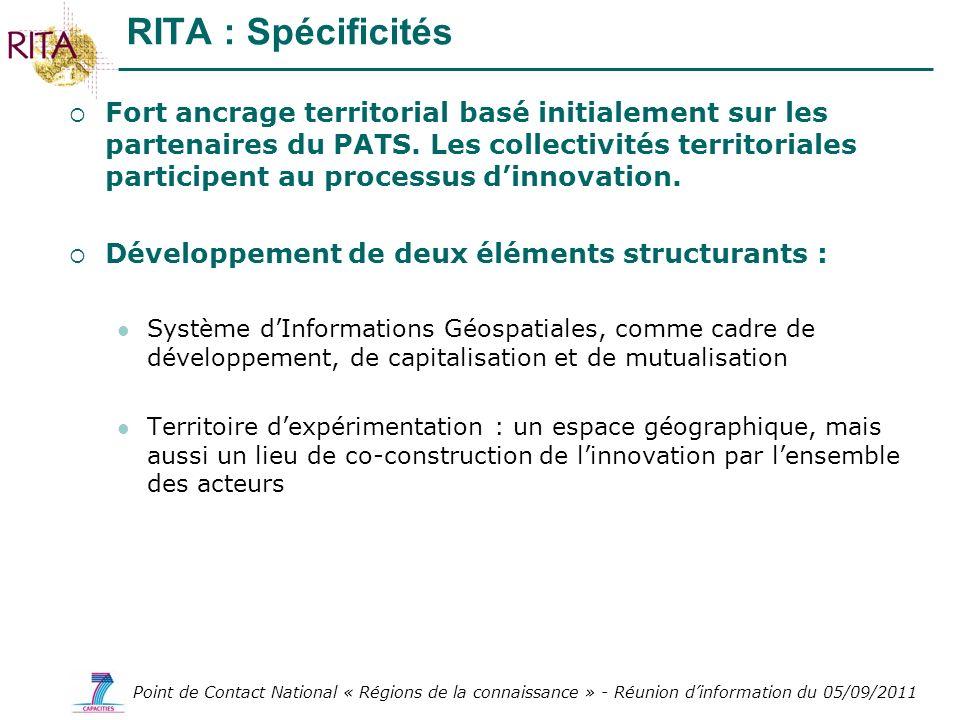 Point de Contact National « Régions de la connaissance » - Réunion dinformation du 05/09/2011 Fort ancrage territorial basé initialement sur les parte