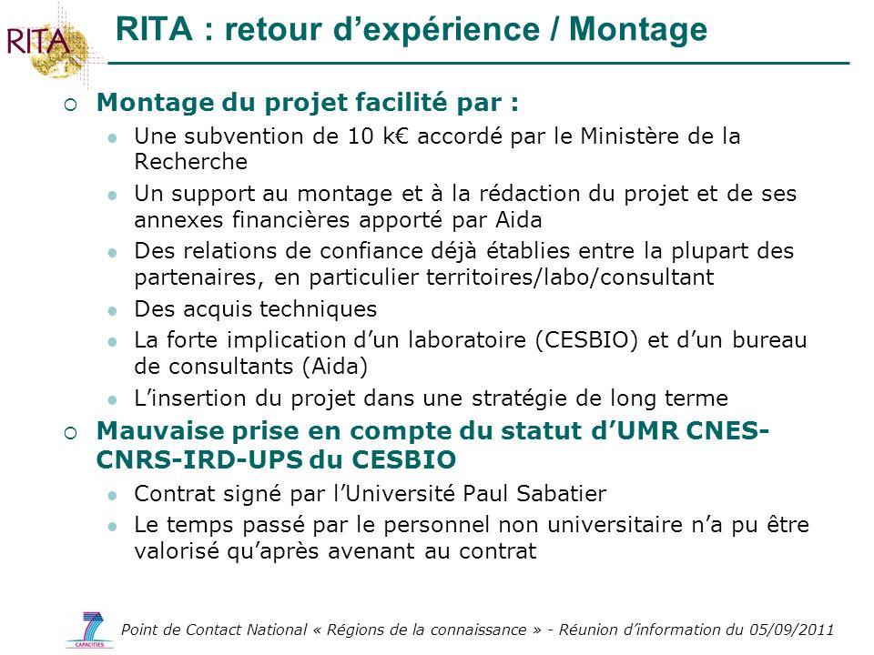 Point de Contact National « Régions de la connaissance » - Réunion dinformation du 05/09/2011 Montage du projet facilité par : Une subvention de 10 k