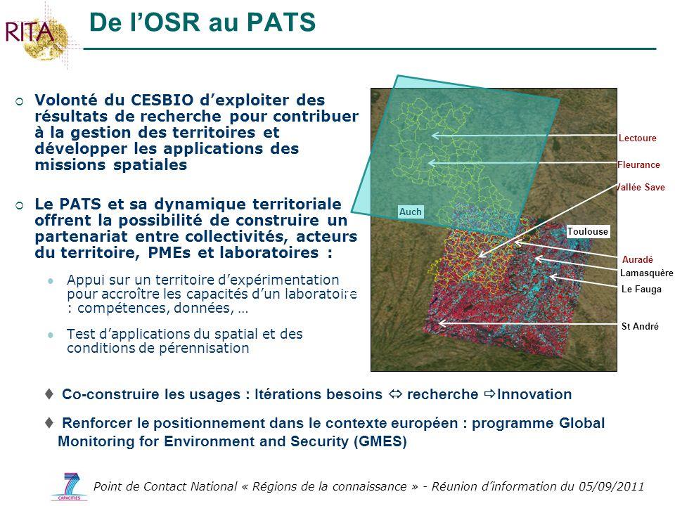Point de Contact National « Régions de la connaissance » - Réunion dinformation du 05/09/2011 Volonté du CESBIO dexploiter des résultats de recherche