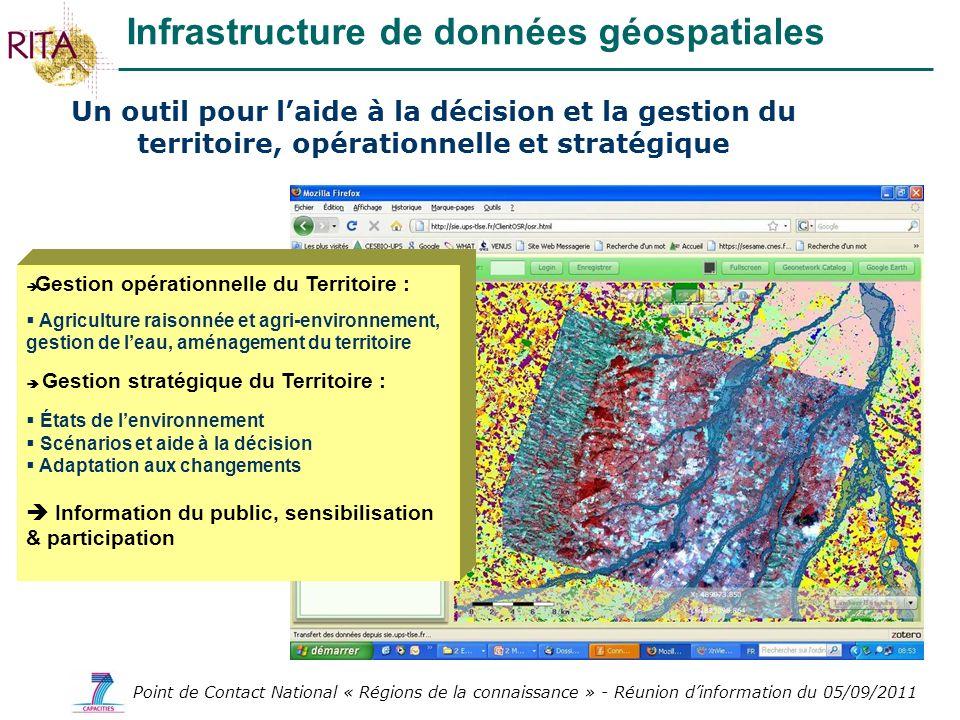 Point de Contact National « Régions de la connaissance » - Réunion dinformation du 05/09/2011 Infrastructure de données géospatiales Un outil pour lai