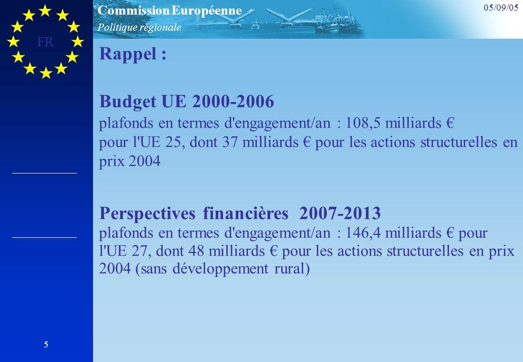 Politique régionale Commission Européenne 05/09/05 FR 5 Rappel : Budget UE 2000-2006 plafonds en termes d engagement/an : 108,5 milliards pour l UE 25, dont 37 milliards pour les actions structurelles en prix 2004 Perspectives financières 2007-2013 plafonds en termes d engagement/an : 146,4 milliards pour l UE 27, dont 48 milliards pour les actions structurelles en prix 2004 (sans développement rural)