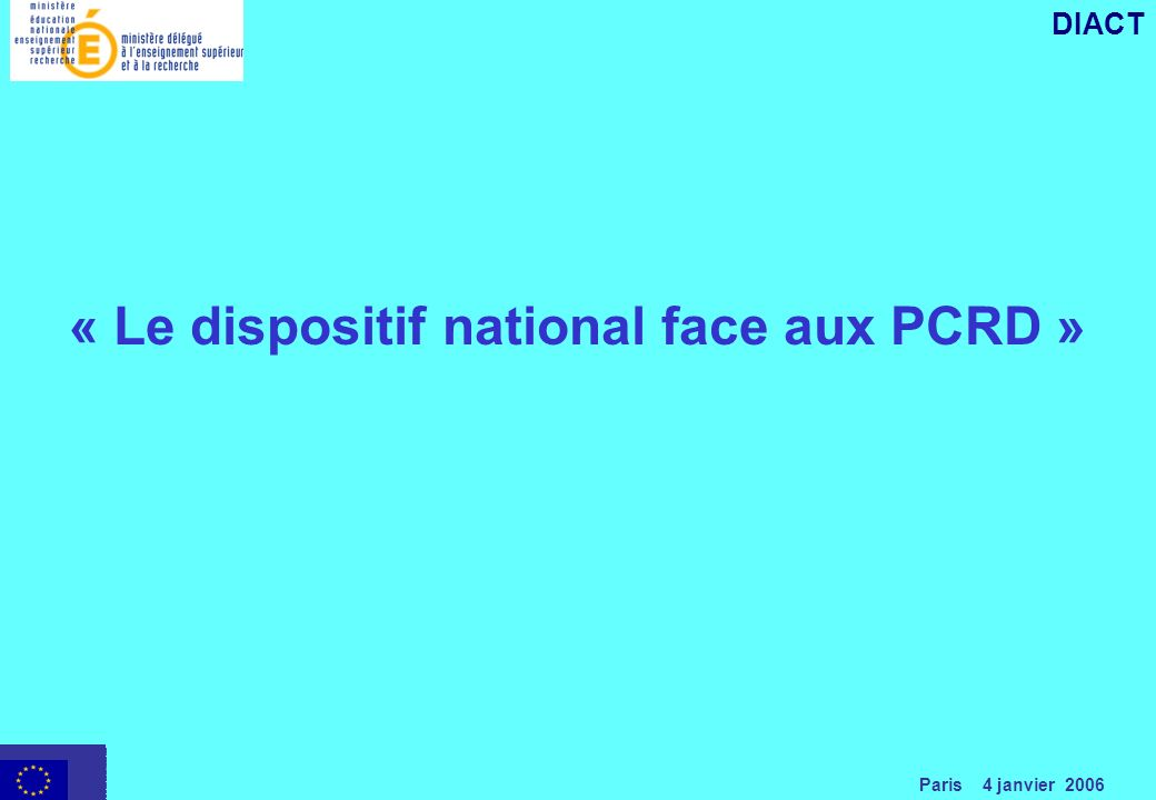 Paris 4 janvier 2006 DIACT « Le dispositif national face aux PCRD »