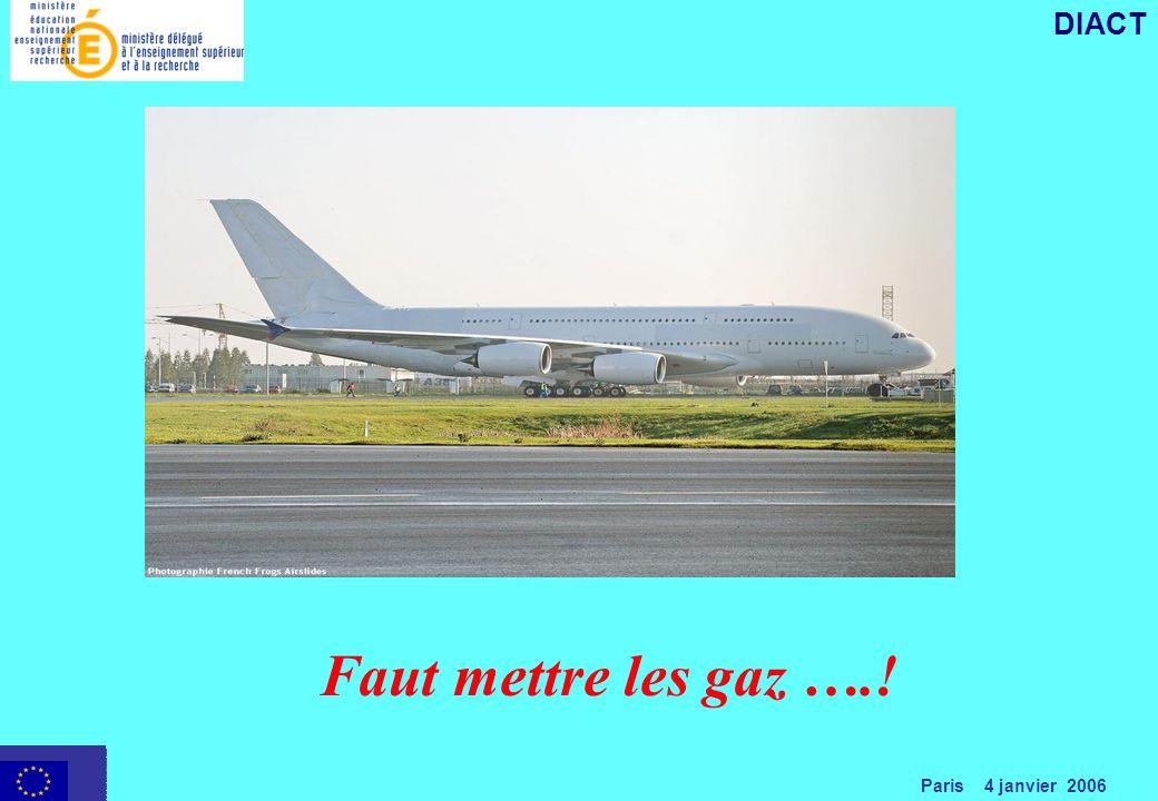 Paris 4 janvier 2006 DIACT Faut mettre les gaz ….!