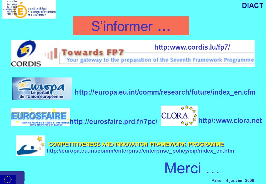 Paris 4 janvier 2006 DIACT Sinformer …   http/:      Merci … COMPETITIVENESS AND INNOVATION FRAMEWORK PROGRAMME
