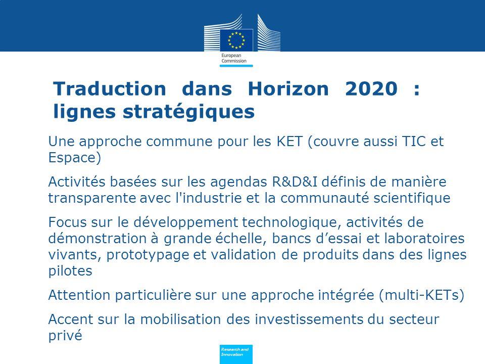 Policy Research and Innovation Research and Innovation Une approche commune pour les KET (couvre aussi TIC et Espace) Activités basées sur les agendas