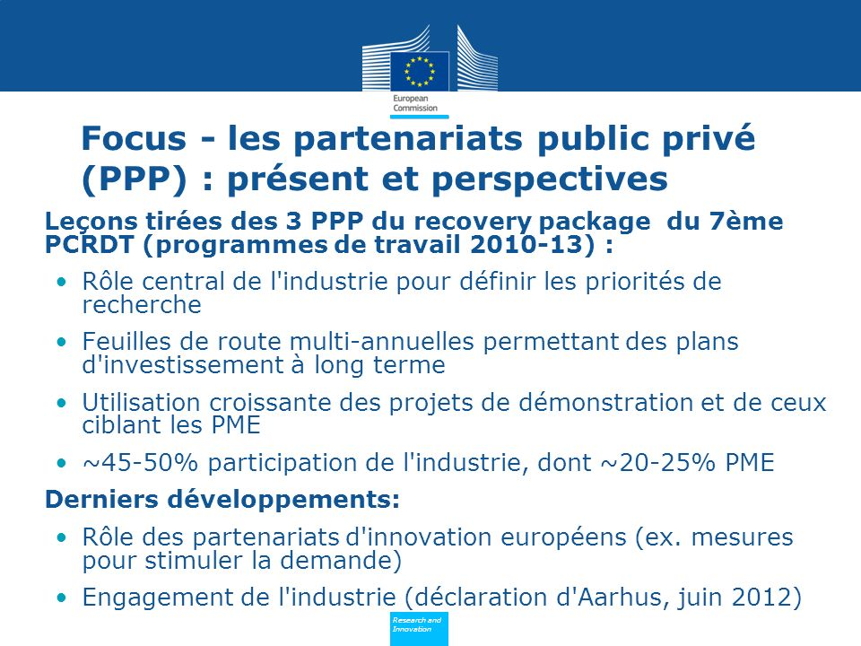 Policy Research and Innovation Research and Innovation Critères précis pour la mise en place de PPP.
