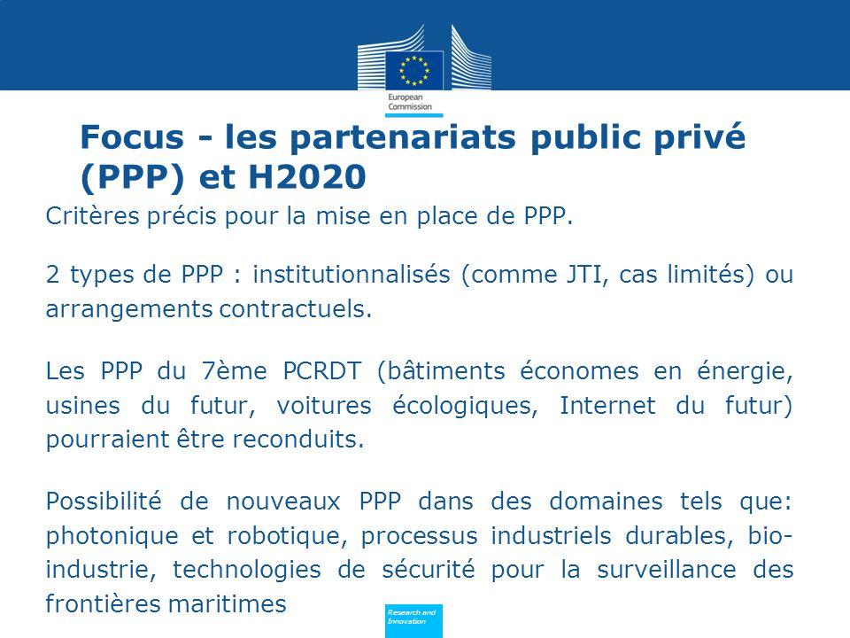 Policy Research and Innovation Research and Innovation Critères précis pour la mise en place de PPP. 2 types de PPP : institutionnalisés (comme JTI, c