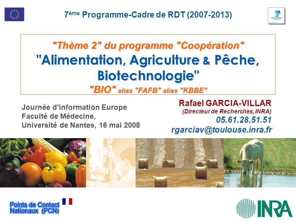 Thème 2 du programme Coopération Alimentation, Agriculture & Pêche, Biotechnologie BIO alias FAFB alias KBBE Rafael GARCIA-VILLAR (Directeur de Recherches, INRA) 05.61.28.51.51 rgarciav@toulouse.inra.fr 7 ème Programme-Cadre de RDT (2007-2013) Journée d information Europe Faculté de Médecine, Université de Nantes, 16 mai 2008